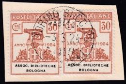 FRANCHIGIA - Enti Parastatali: - FRAMMENTO - 30 C. Bruno Assoc. Biblioteche Bologna (Bollo: Torino 3.3.24) - 1924 - 1900-44 Victor Emmanuel III.