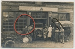 Forges Les Eaux Garage Cycles Autos J. DHENAIN  (carte Photo , Très Rare ) - Forges Les Eaux