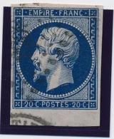20 C N° 14 Bleu Très Foncé Bdf TB. - 1853-1860 Napoléon III