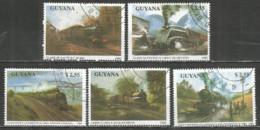 Guyana 1990 Used CTO Stamps Set Trains - Guiana (1966-...)