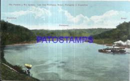 123573 PARAGUAY BRAZIL ARGENTINA TRIPLE FRONTERA RIO PARANA Y RIO IGUAZU POSTAL POSTCARD - Paraguay