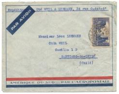 N°261 Port De La Rochelle Seul Sur Lettre Pour Santiago (Chili) 04/1933 - Poste Aérienne