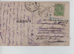 CBPN27/ TP 137 S/CP Fantaisie C.Fortune Perwez 6/2/19 > Boistfort (Sanatorium) C.d'arrivée Watermael Retour Rebut - Storia Postale