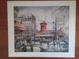 "Quadro(7)stampa ""Paris Le Moulin Rouge"" Brunet + Cornice  (A) - Stampe"