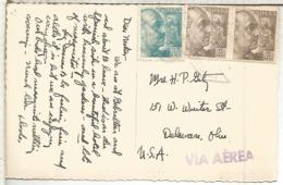 TP ALGECIRAS CADIZ A USA CON MAT AMBULANTE 1955 SELLOS FRANCO PERFIL - 1931-Hoy: 2ª República - ... Juan Carlos I