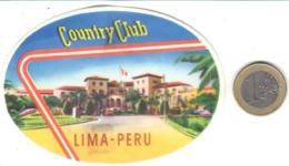 ETIQUETA DE HOTEL  - COUNTRY CLUB  -LIMA -PERU - Etiquetas De Hotel