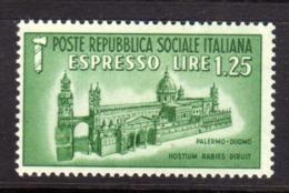 ITALIA REGNO ITALY KINGDOM REPUBBLICA SOCIALE RSI 1944 ESPRESSO SPECIAL DELIVERY RSI DUOMO DI PALERMO LIRE 1,25 MNH - 4. 1944-45 Repubblica Sociale