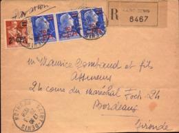 Lettre De La Reunion Pour La France, Recommandé Saint Denis, Bande De 3 Timbres CFA     (bon Etat) - Reunion Island (1852-1975)