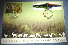 Herdenkingskaart - België - Finlande 4180/81(o) Het Woud / The Forest / La Forêt  HK (cob ) Cote 10€ / Van Blok 194 - Souvenir Cards