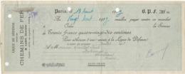ADHESION CHEQUE MANDAT -LIGUE DE DEFENSE CONTRE LES CHEMINS DE FER -ANNEE 1923ER - Cheques En Traveller's Cheques