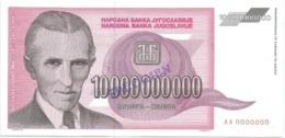 Yugoslavia 10.000.000.000 Dinara 1993.  P-127 TESLA SPECIMEN - Joegoslavië