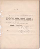 TUBINGUE Joséphine WARNKÖNIG Née SMAL 1846 épouse Professeur D'université Perforations De Classement - Todesanzeige