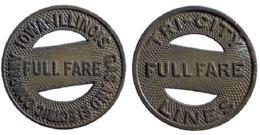 01879 GETTONE TOKEN JETON FICHA TRASPORTI TRANSIT BUS ILLINOIS ROCK ISLAND 1942 - Espagne