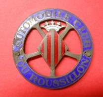 66 Catalan Insigne Ancien Automobile Club Du Roussillon Plaque Ajourée Bronze & émaux Tricolores Dans Son Jus - Bronzes