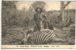 CONGO BELGA ENTERO POSTAL 1921 CAZADOR CEBRA ZEBRA HUNTING - Otros