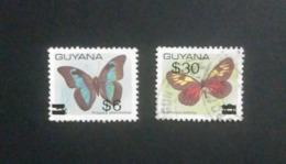 GUYANA BUTTERFLY OVERPRINTS USED !! - Schmetterlinge