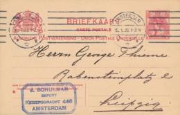 Nederland - 1909 - 5 Cent Bontkraag, Briefkaart G76 Van Amsterdam Naar Leipzig / Deutschland - Ganzsachen