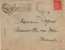 Semeuse Avec Petite Perforation Sur Lettre V Paris 1930 - 2 Scans - Perforés