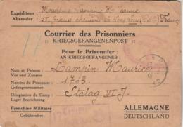 Courrier Des Prisonnier S De Loos Lens Pas De Calais Cachet Lille Nord 2/9/1940 Pour Stalag VI J - Censure - Poststempel (Briefe)