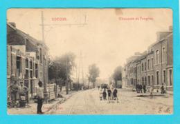 CPA ROCOUR ROCOURT ( Liège ) Chaussée De Tongres, Bien Animée, Rails Tram, Circulée En 1913 - Ed. Dumont, Liège - 2 Scan - Belgio