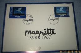 Herdenkingskaart - Carte-souvenir Magritte 2755(o) Cote 8,5€ België 1998 - Souvenir Cards