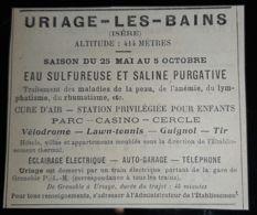URIAGE LES BAINS 1907 EAU SULFUREUSE SALINE THERMES CASINO GUIGNOL CURE SOURCE THERMALISME 38 ISERE EAUX PUB ANCIENNE - Reclame