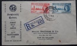 Tanganika 1946, FDC 155-56, DAR ES SALAAM - Kenya, Uganda & Tanganyika
