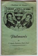 Livret Rare Collège De Dinan Palmarès De L'année 1941-1942 Liste Du Personnel Résultats Scolaires - Diplomas Y Calificaciones Escolares