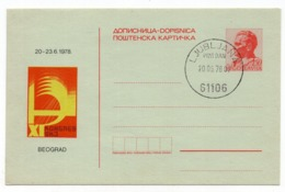 20.06.1978. YUGOSLAVIA,  SPECIAL CANCELLATION, LJUBLJANA, TITO,1.5 DINARA, STATIONERY CARD, USED - Entiers Postaux