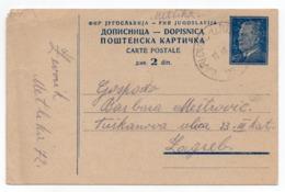 1950s FNR YUGOSLAVIA, TPO 76 KARLOVAC-LJUBLJANA, TITO, 2 DINARA, STATIONERY CARD, USED - Entiers Postaux