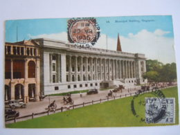 Malay Malaya Malaisie Singapore Municipal Building Auto Animated Used 1935 Stamp Tiger 1c Yv 51 - Malaysia