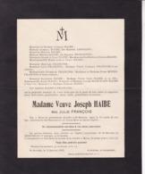 MEUX ST-SERVAIS Julie FRANCOIS Veuve Joseph HAIBE 74 Ans 1923 Famille LEGRAND - Décès