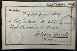 Etiquette COLIS Vers PRISONNIER DE GUERRE Allemand ORLEANS De Glauchau Cachet Croix-Rouge Feldpost - Guerre De 1914-18