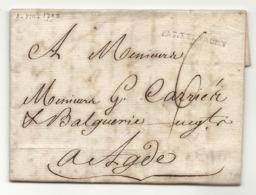 Aude - Castelnaudary Pour Agde. LAC De 1790 - Marcofilia (sobres)