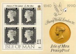 ISLE OF MAN 1990 150th Anniversary Of The Penny Black M/S - Isla De Man