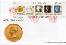 ISLE OF MAN 1990 150th Anniversary Of The Penny Black Sheetlet FDC - Isla De Man