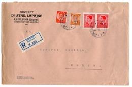 1940 YUGOSLAVIA, SLOVENIA, LJUBLJANA TO CELJE, REGISTERED, LAWYER DR STAN. LAPAJNE, COMPANY HEADCOVER - 1931-1941 Royaume De Yougoslavie