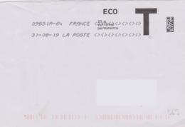 Toshiba 09831A-64 Du 31-08-19 7 Signes Inférieurs Et Supérieurs Lettre T Eco - Marcofilie (Brieven)