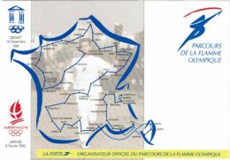 LCTN58/2 - FRANCE CP DE SERVICE PARCOURS FLAMME OLYMPIQUE OBLITEREE NON CIRCULEE - Autres