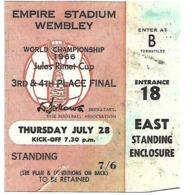 Ticket D'entrée.Coupe Du Monde Foot 1966. 3° Et 4° Places à Wembley Le 28 Juillet. - Toegangskaarten