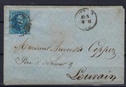 N°11A GESTEMPELD OP BRIEF P76 Louvain MET 4 MARGES COB € 20,00 + COBA € 2,00 SUPERBE - 1858-1862 Medaillons (9/12)