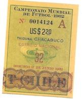 Ticket D'entrée.Coupe Du Monde Foot Au Chili. Pour Le 17 Juin 1962.. - Tickets D'entrée