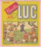 Buvard Biscottes LUC  LA FONTAINE LA TAUPE ET LES LAPINS 19 - Biscottes