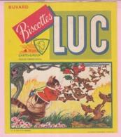 Buvard Biscottes LUC  LA FONTAINE LE CHAT ET LE MOINEAU  19 - Biscottes