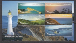 2015 New Zealand Coastlines Lighthouse Miniature Sheet Of 5 MNH @   FACE VALUE - New Zealand