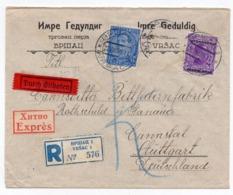 1935 YUGOSLAVIA, SERBIA, VRSAC TO STUTTGART, GERMANY, REGISTERED, COMPANY HEADCOVER, IMRE GEDULDIG - 1931-1941 Royaume De Yougoslavie