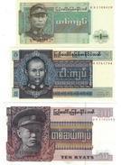 BIRMANIE 1 5 10 KYATS ND (1973) P-56,57,58 NEUF SET [BMM1001A-1003a] - Myanmar