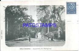 123635 PARAGUAY ASUNCION BELVEDERE VISTA DE LA CALLE TRANVIA TRAMWAY CIRCULATED TO US POSTAL POSTCARD - Paraguay