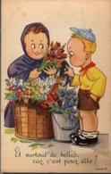 """CPA - Fantaisie - Enfants - Fleuristes - """" Et Surtout De Belles, Car C'est Pour Elle """"  [style Vera Paterson] - Humorvolle Karten"""