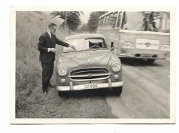 ANCIENNE PHOTO AUTO VOITURE PEUGEOT 403, BUS AUTOBUS, CAR AUTOCAR, Format Environ 7,5 Cm Sur 10,5 Cm - Photos